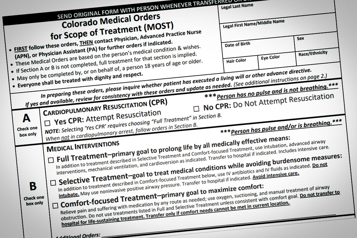 Colorado's Medical Orders for Scope of Treatment form consolidates and summarizes patient preferences for key life-sustaining treatments.