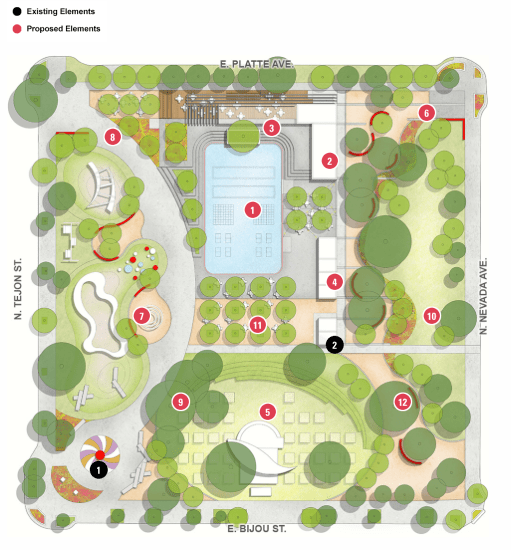 A map showing the proposed changes for Acacia Park. An interactive version of the map is available here: https://www.designworkshop.com/cos/