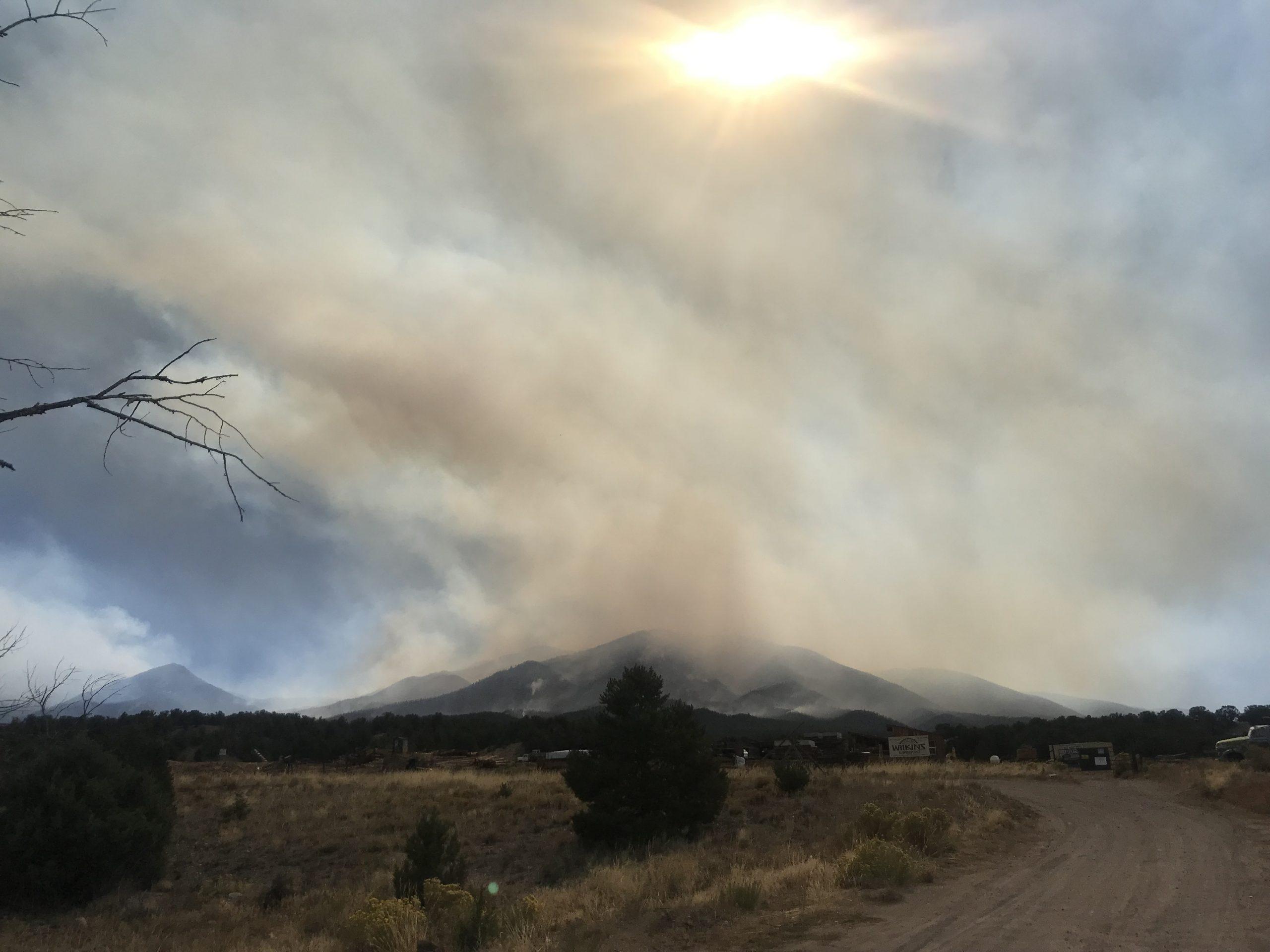 Heavy smoke from the Decker Fire visible near Natrop, Colo. Photo taken Thursday, October 3, 2019.