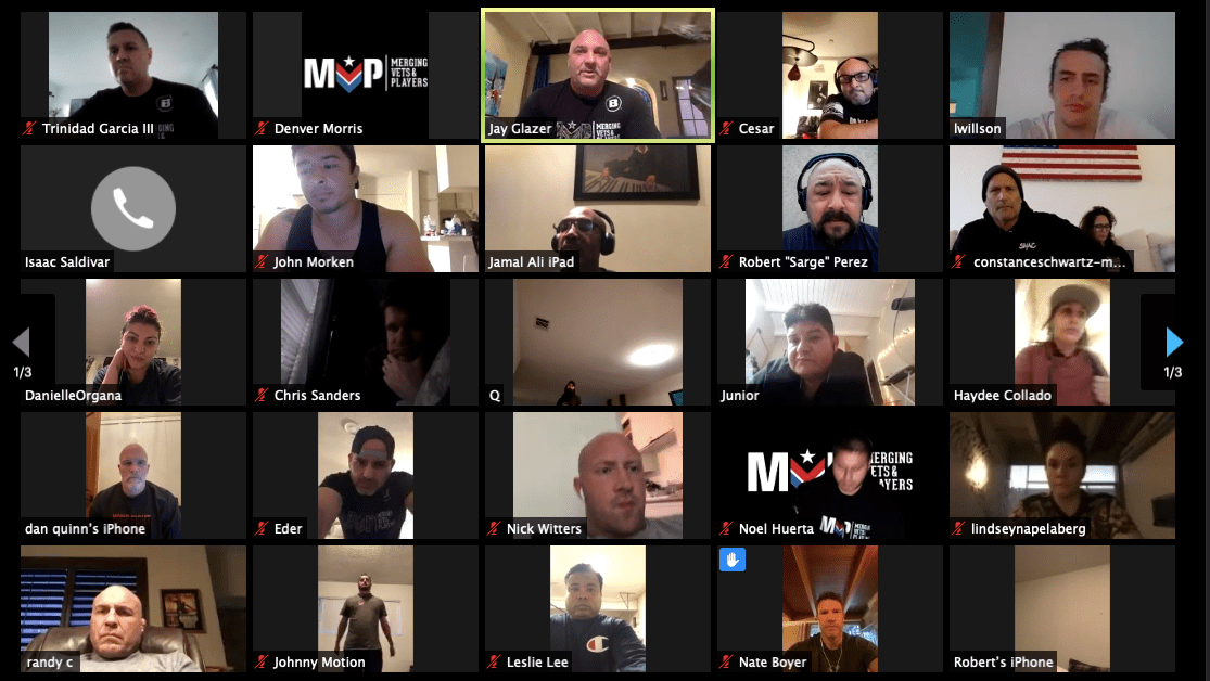 Members of the support group Merging Vets and Players (MVP) hold an online meeting. The group says 35 percent of its members have lost jobs because of the pandemic.