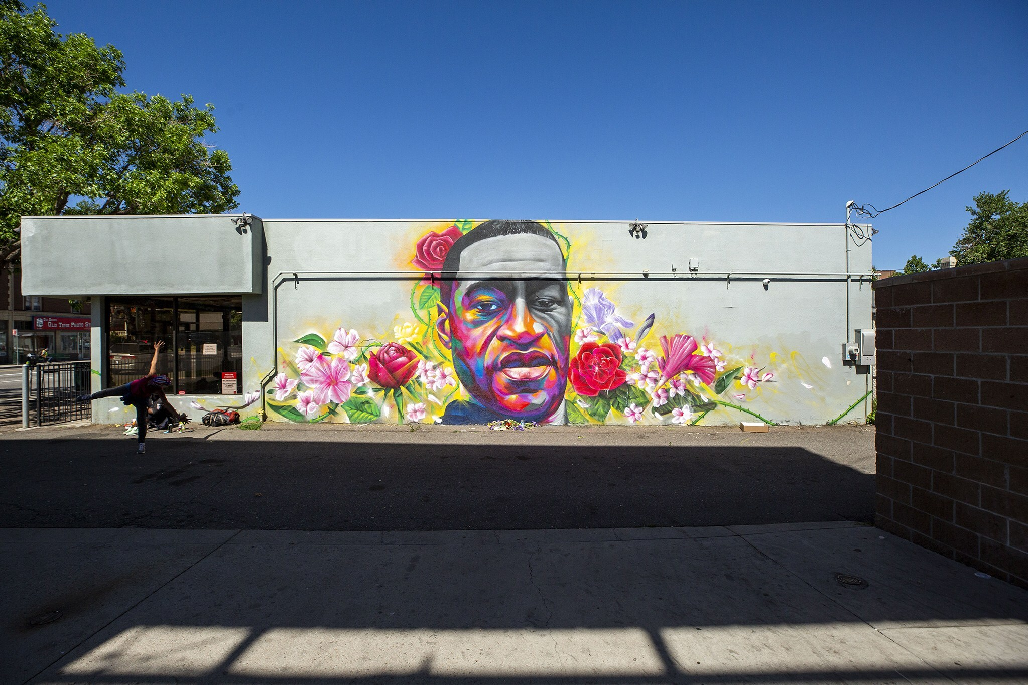 Artists Detour and Hiero painted a mural of George Floyd on the side of a Ready Temporary Services building at High Street and Colfax Avenue. June 7, 2020.