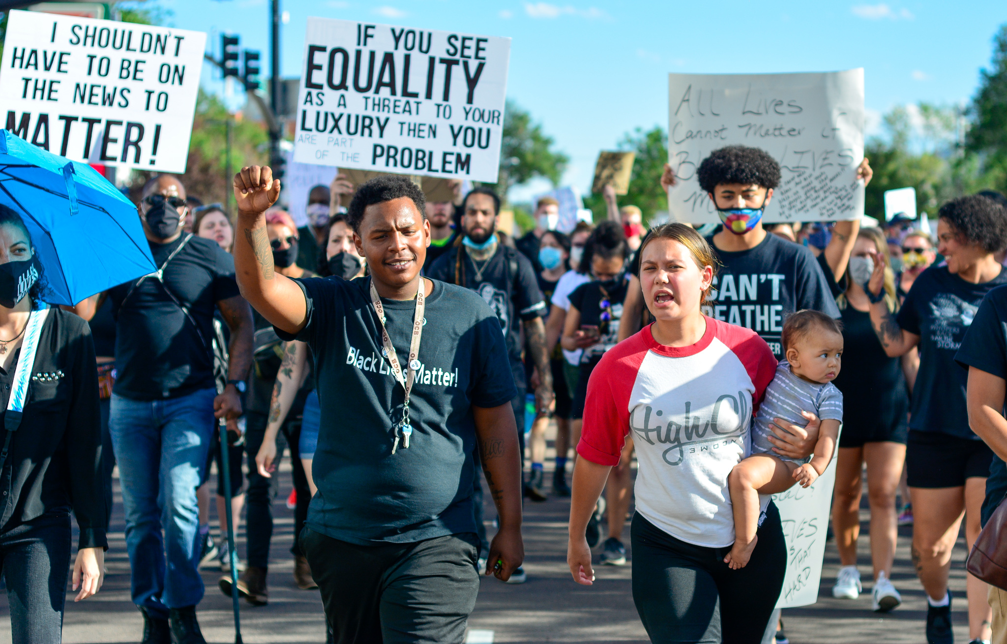 Protesters gathered outside of City Hall on Thursday, June 11, for a funeral procession to remember people killed by the Colorado Springs Police Department.