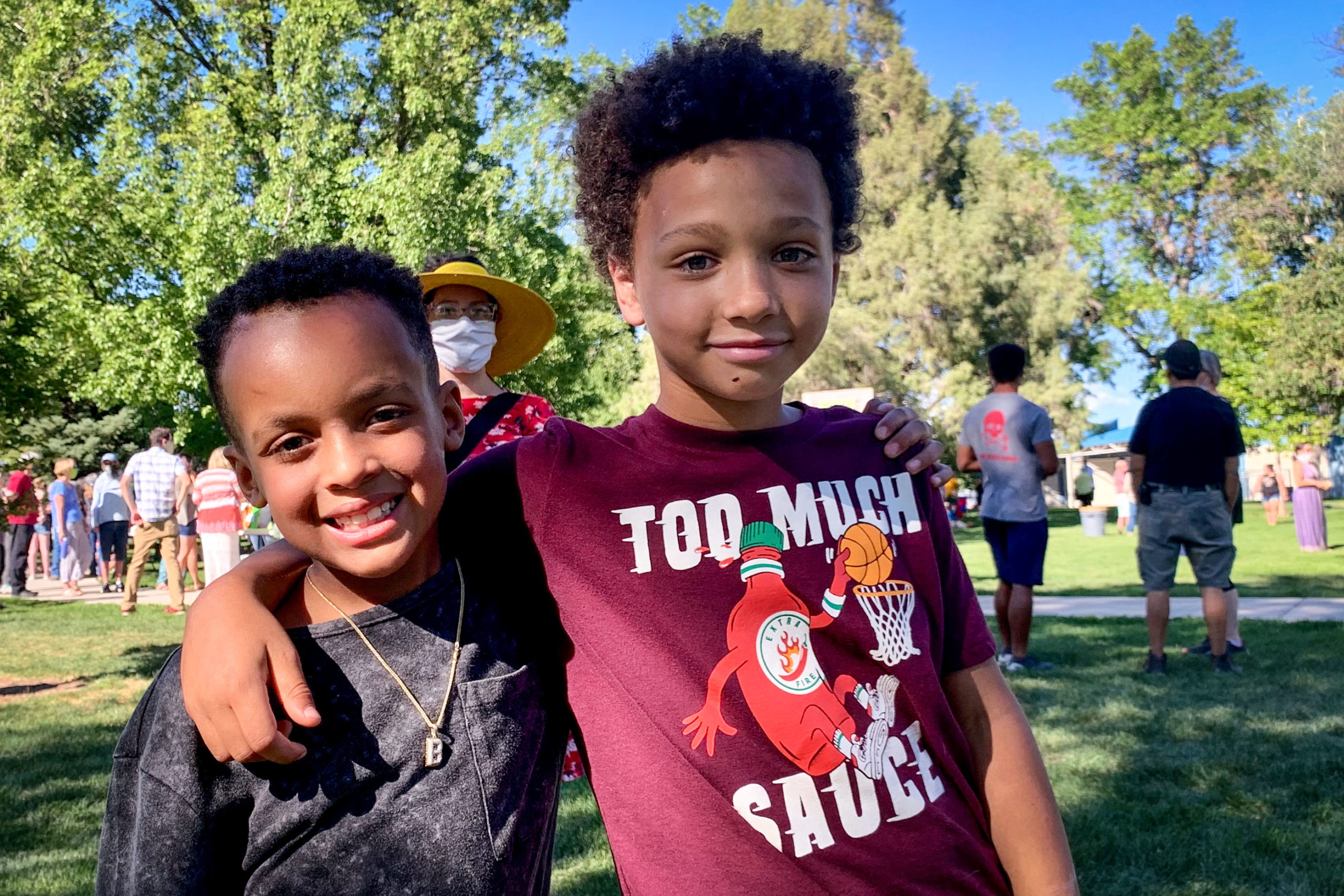 Grand Junction's biggest-ever Juneteeth was full of families and kids. Bryce Lockett, left, and Khalil Adams-Parry are new friends who met at another recent RAW event.