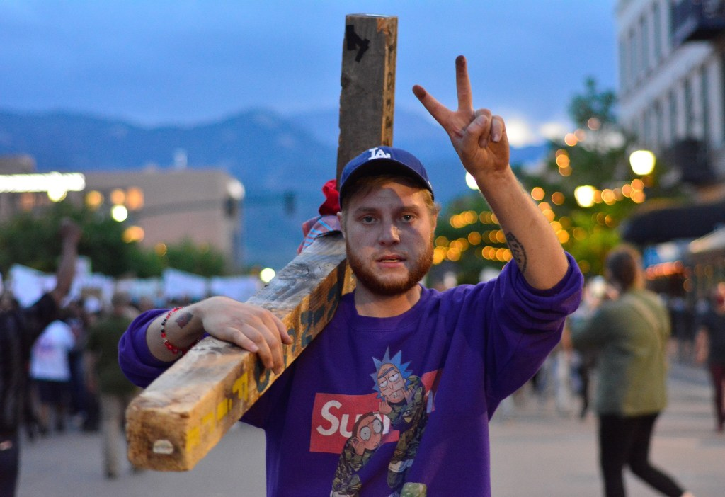 Chanting loudly, hundreds of demonstrators filled the streets in downtown Colorado Springs, CO late on June 2, 2020 during another night of protest against police brutality and to acknowledging the death of George Floyd and others who was killed by a Minnesota police officer while being detained.
