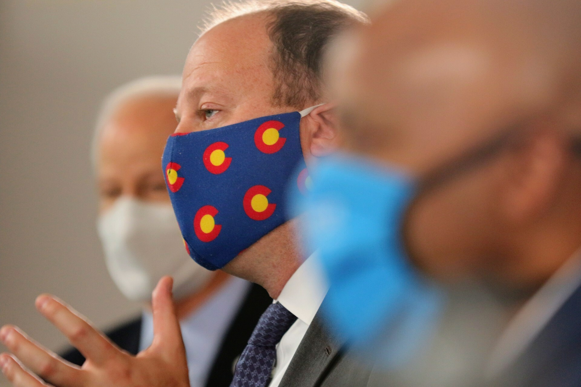 Gov. Jared Polis announces a statewide mask order on July 16, 2020.
