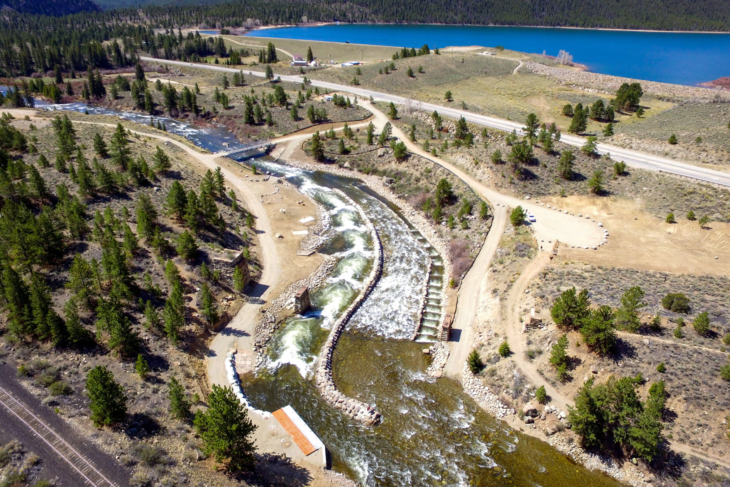 Looking downstream of the new diversion, May 2020.