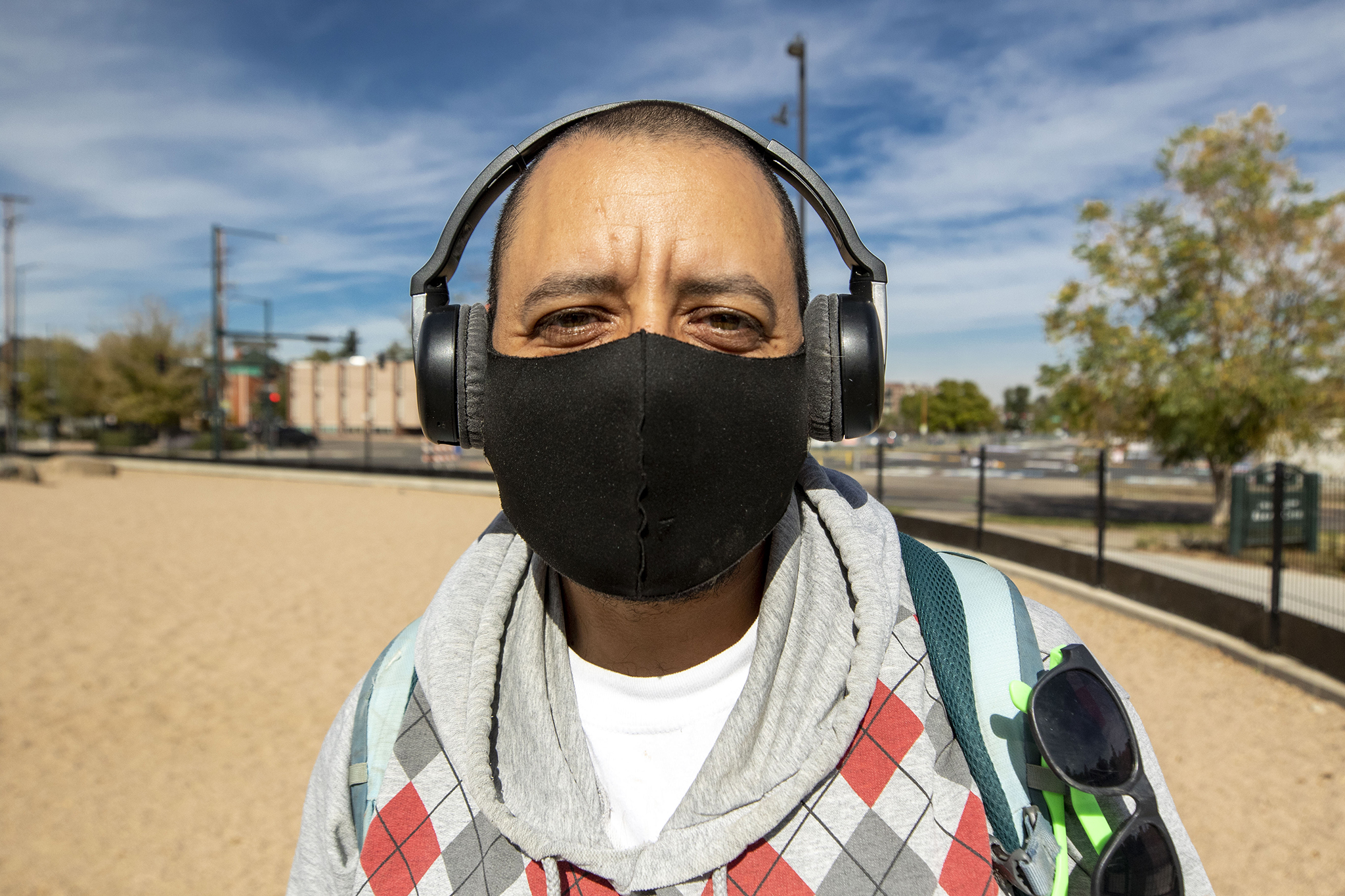 Che Luera was already wearing a mask outside when Denver's tighter rules on face coverings was announced. Oct. 16, 2020.
