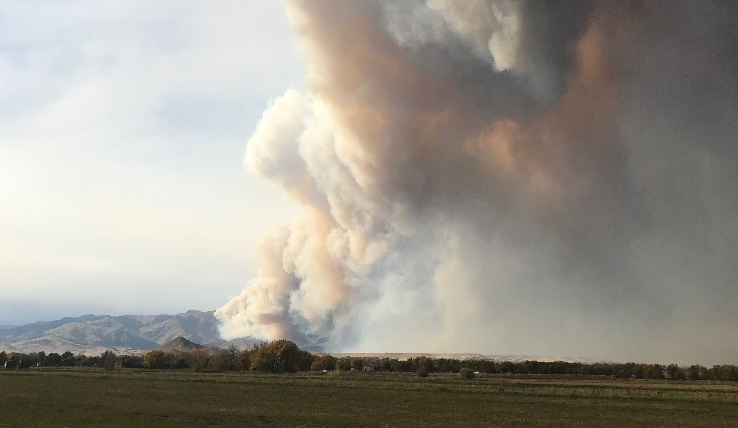 The Calwood fire ignited October 17, 2020, in the foothills above Boulder. This view is from Longmont.