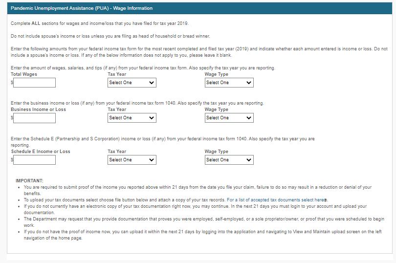Colorado's application for Pandemic Unemployment Assistance.