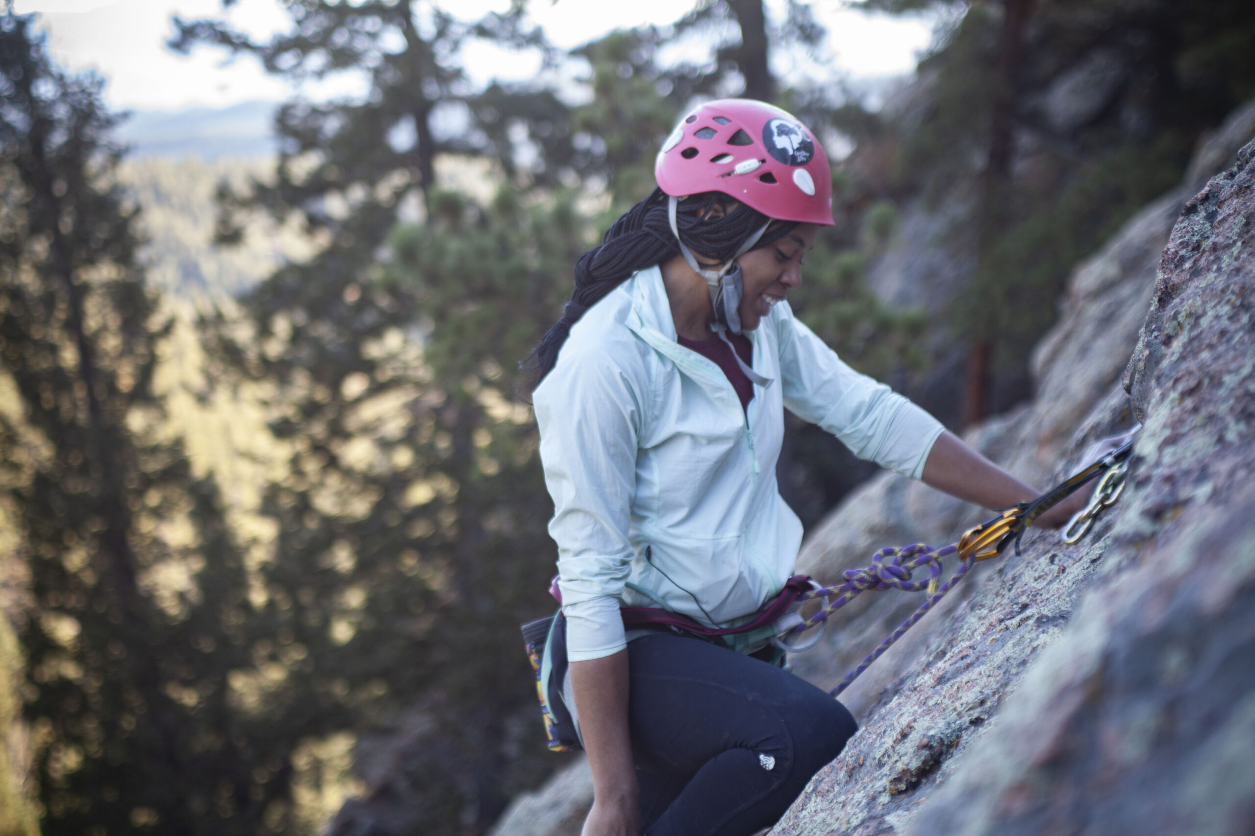 Brittany Leavitt of Brown Girls Climb at the top of the newly bolted route, tentatively called Patterson's Pitch. The route was named after Mary Jane Patterson, the woman who is presumed to be the first African-American woman to receive a Bachelor's degree.