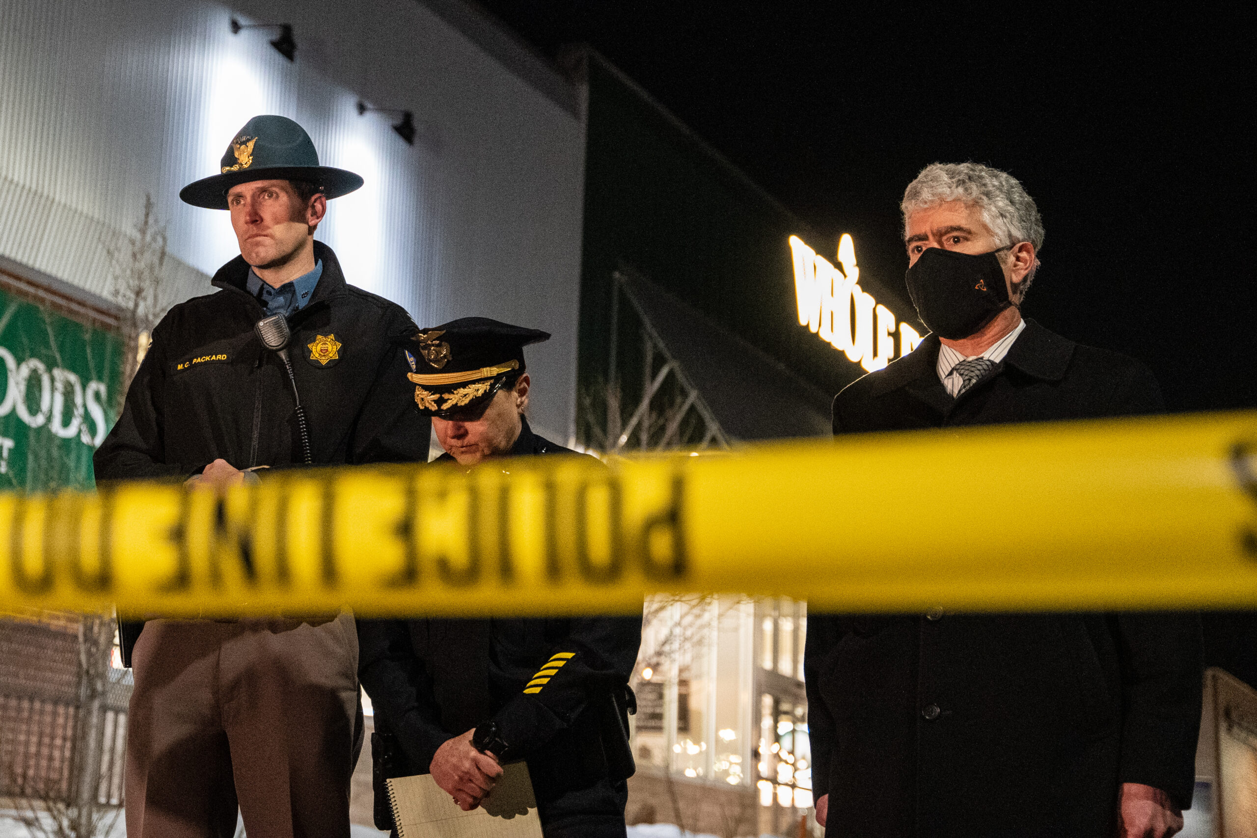 Colorado State Patrol Chief Matthew Packard, Boulder Police Chief Maris Herold and acting U.S. Attorney for Colorado Matthew Kirsch speak to reporters at a press conference hours after the March 22, 2021 shooting that killed 10 people at King Soopers in Boulder, Colo.