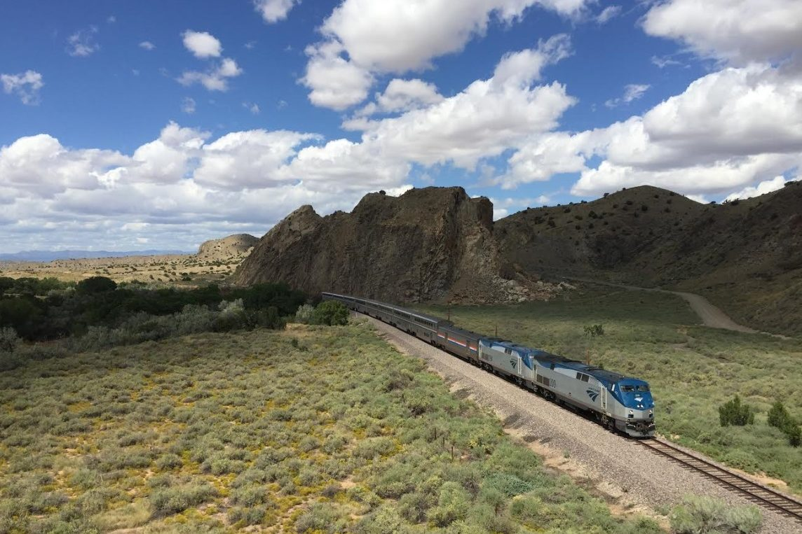The Amtrak Southwest Chief outside Devil's Throne in New Mexico in 2017.