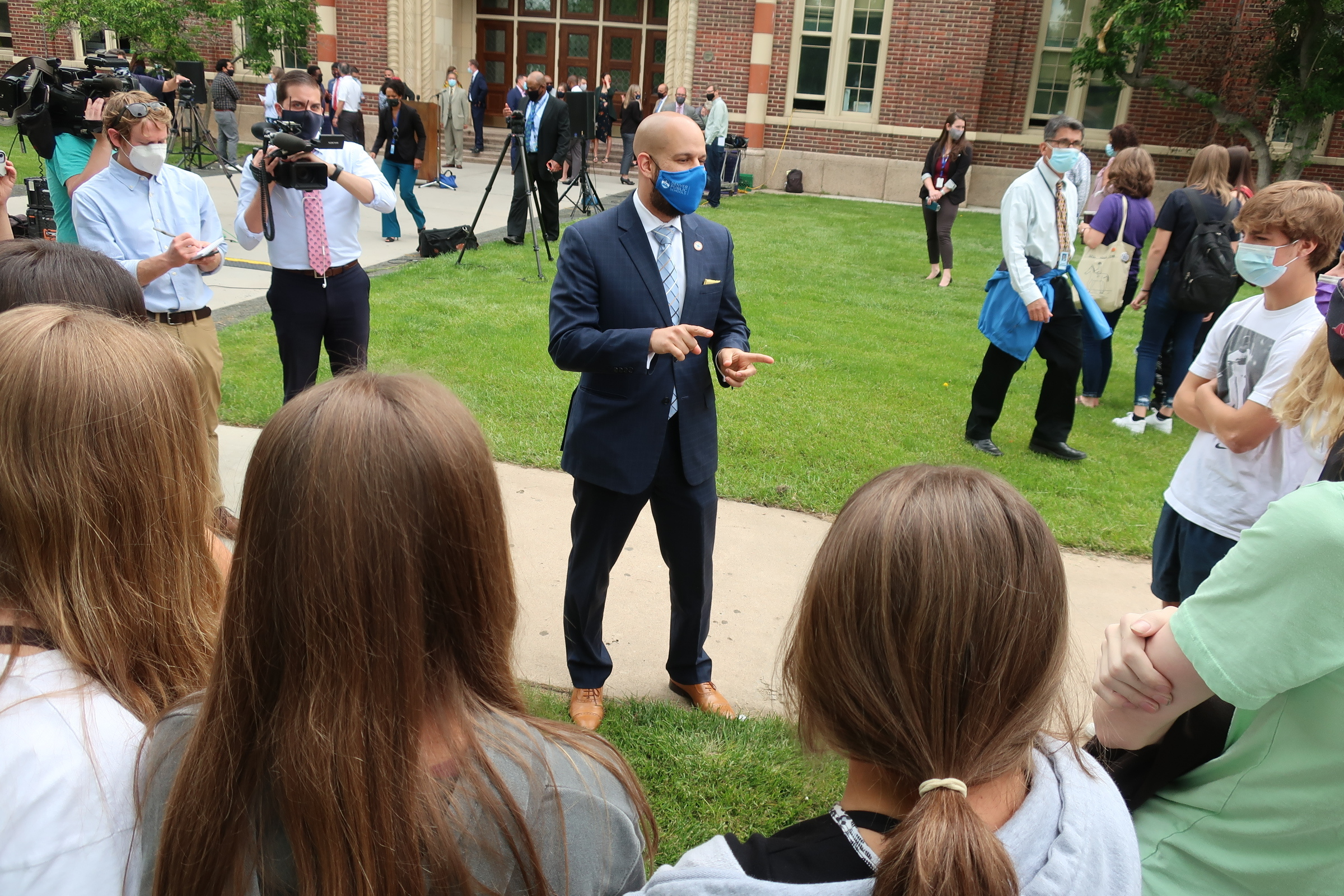 Dr. Alex Marrero, who was chosen by Denver Public Schools to be its new superintendent, speaks to South High School students after a press conference announcing his appointment on Wednesday, May 26, 2021.