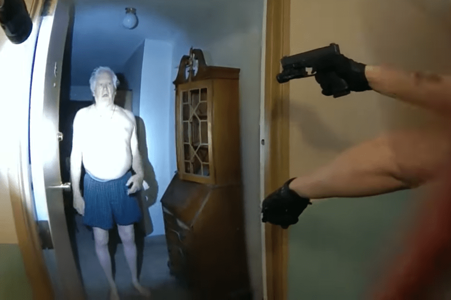 A screenshot from the officer-worn body camera footage of the forceful arrest of a 75-year-old Idaho Springs man.