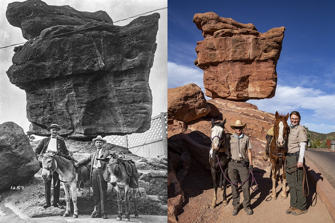 Photographer Mike Pach says he didn't try to replicate the old photos, but instead sought to make similar scenes highlighting the people and landscape of Colorado Springs today. This image shows pioneers near Balanced Rock in Garden of the Gods, paired with a new photo in the same place.