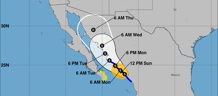 The trajectory of Hurricane Nora as of August 29, 2021, as portrayed by federal forecasters and analysts. Rain from the weather system is expected to reach Colorado later in the week.