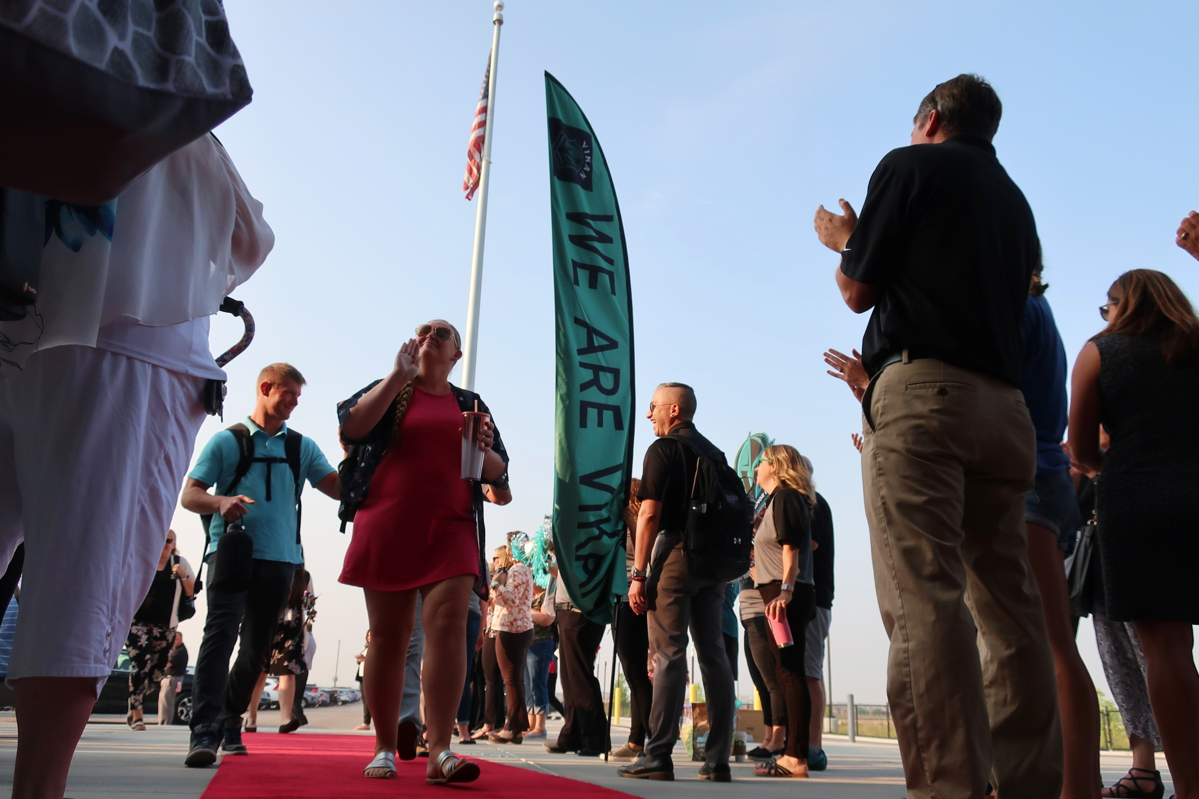 About 150 new teachers walk down the red carpet to cheering crowds on their first day of teacher orientation at the 27J school district. It was one inventive way districts are trying out to welcome and retain new teachers.