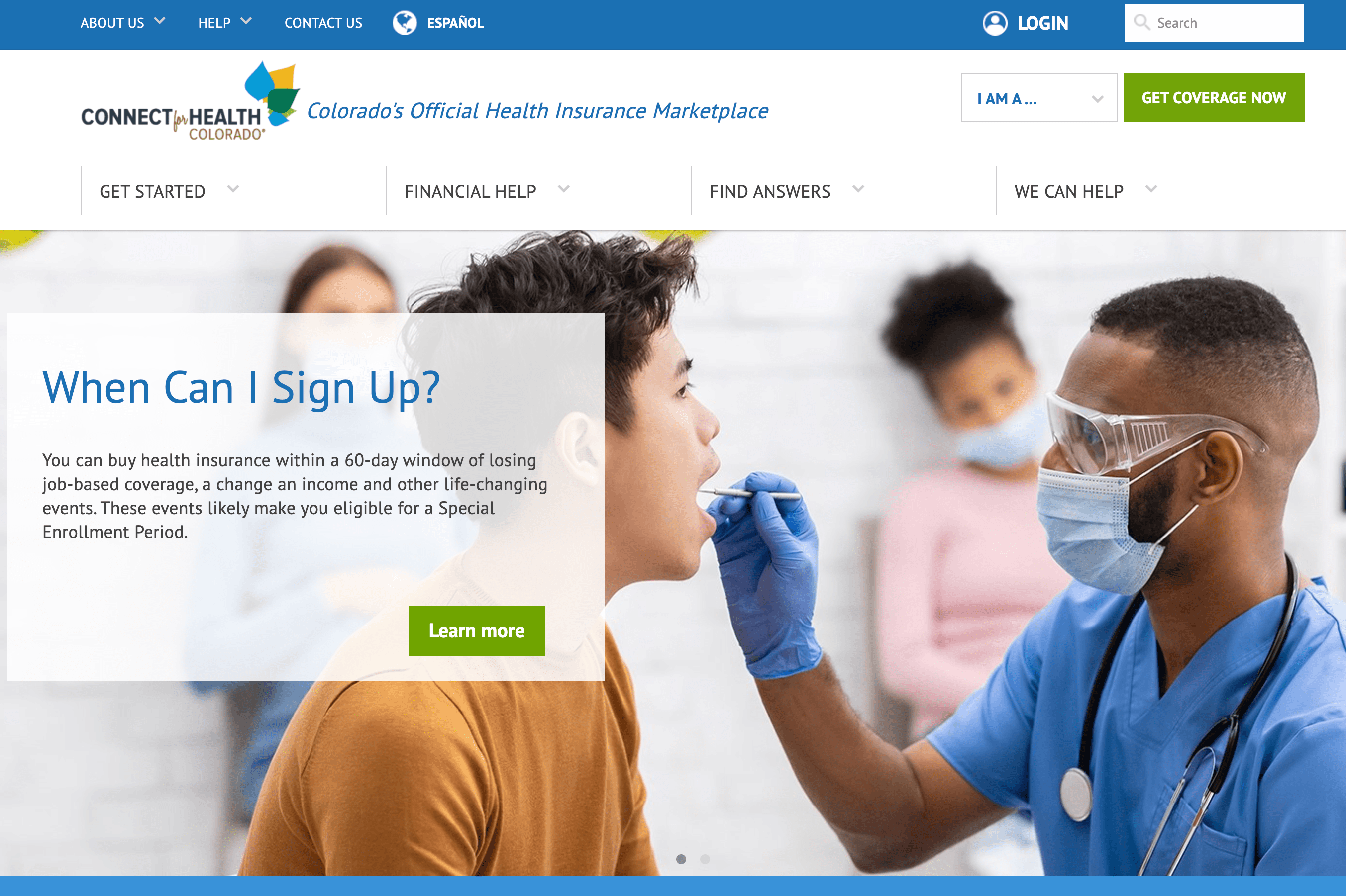 A screenshot shows the homepage of the Connect for Health Colorado website on Oct. 12, 2021.