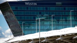 Denver International Airport and the new Westin hotel. (Kevin J. Beaty/Denverite)
