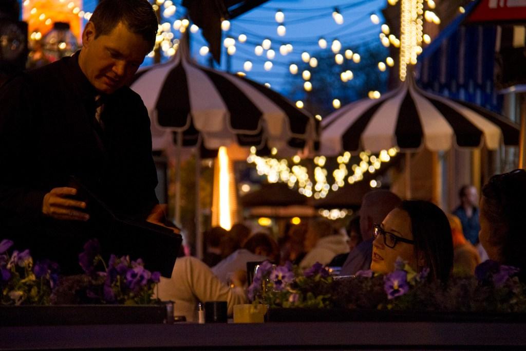 Outdoor dining at Ocean Prime in Larimer Square. May 19, 2016. (Kevin J. Beaty/Denverite)