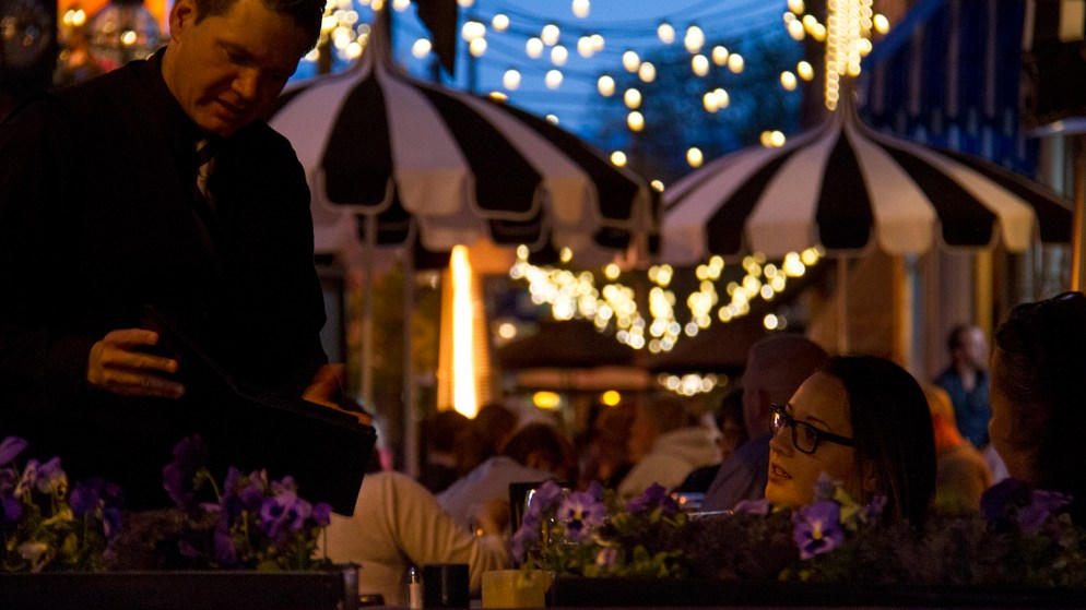 Outdoor dining at Ocean Prime in Larimer Square. May 19, 2016. (Kevin J. Beaty/Denverite)