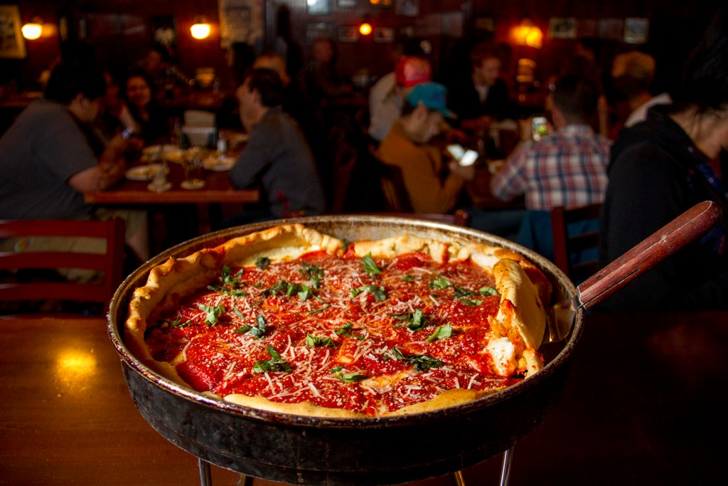 Deep dish Chicago Pizza at Wymans No. 5 in Capitol Hill. (Kevin J. Beaty/Denverite)  capitol hill; pizza; food; dining; denverite; denver; colorado; kevinjbeaty;