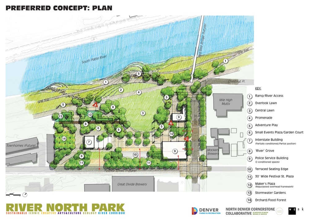 Preferred concept plan for River North Park. Courtesy city of Denver.