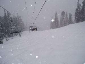 Swirling snow covering everything with a fresh cushion of fluff. (Greg Younger/Flickr)  winter park; skiing; snow; mountain; winter; greg younger;