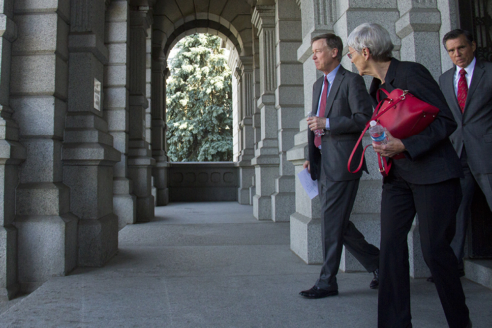 Colorado Governor John Hickenlooper exits the state capitol before a press conference calling out Donald Trump as a racist candidate. June 8, 2016. (Kevin J. Beaty/Denverite)  John Hickenlooper; denver; denverite; governor john hickenlooper; capitol; capitol hill; speech; kevinjbeaty; colorado