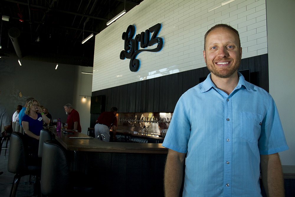 Ryan Evans, co-owner and the business end of Bruz Beers, which just opened in Twin Lakes. (Kevin J. Beaty/Denverite)  beer; brewery; bruz; twin lakes; denver; colorado; food; kevinjbeaty; denverite;