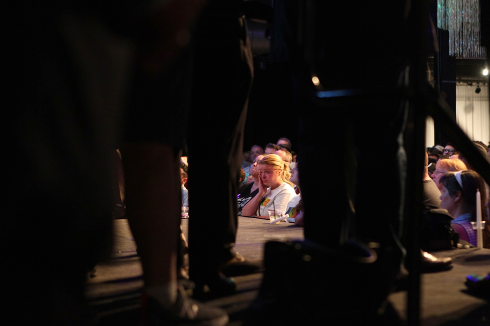 A solidatity rally and vigil at Tracks in reaction to the Orlando massacre on June 12, 2016. (Andy Kenney/Denverite)  orlando; denver; colorado; lgbtq; rally; andy kenney; denverite; tracks;