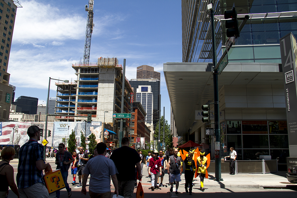Denver streets are peppered with costumes outside Denver Comic Con on June 19, 2016. (Kevin J. Beaty/Denverite)  denver comic con; convention center; denver; colorado; denverite; kevinjbeaty
