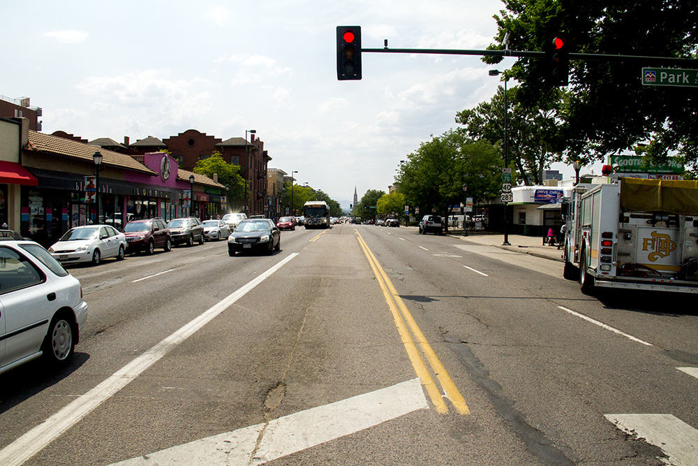 The intersection of Park Ave, Colfax, and Franklin. (Kevin J. Beaty/Denverite)  colfax; capitol hill; denver; colorado; kevinjbeaty; denverite;