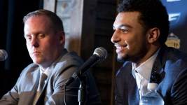 Denver Nuggets draft pick Jamal Murray speaks at a press conference next to general manager Tim Connelly on June 29, 2016. (Kevin J. Beaty/Denverite)  denver nuggets; colorado; sports; basketball; draft; press conference; kevinjbeaty; denverite;