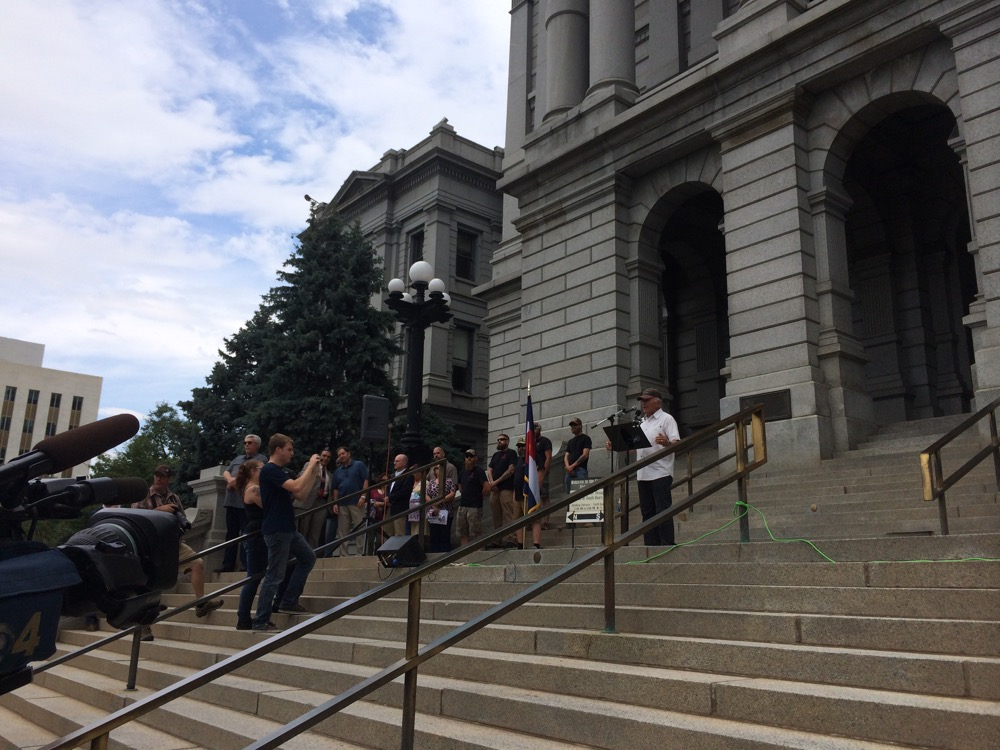 Tom Tancredo addresses supporters at a pro-Trump rally on the Capitol steps. (Chloe Aiello/Denverite)