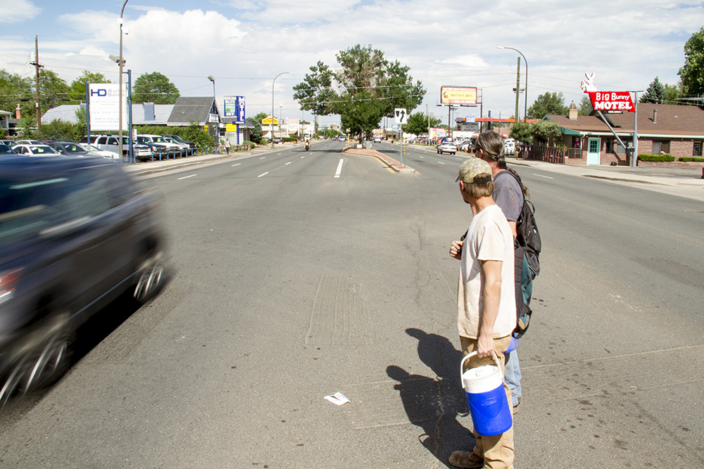 The intersection of Kendall and Colfax. (Kevin J. Beaty/Denverite)  kendall and colfax; dangerous intersections; denverite; denver; kevinjbeaty; colorado;