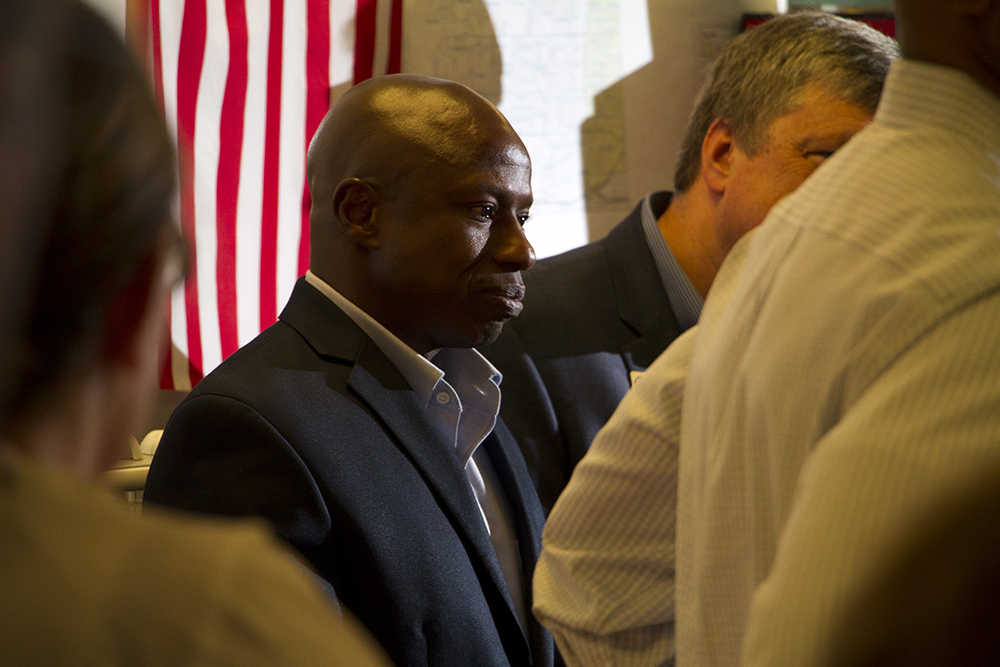 US Senate candidate Darryl Glenn at a meeting calling for unity among the Republican Party at the Jefferson County Republican Party headquarters on July 9, 2016. (Kevin J. Beaty/Denverite)  Darryl Glenn; jefferson county republicans; politics; election; vote; denver; denverite; kevinjbeaty; colorado;
