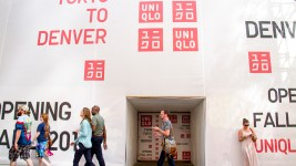 The future site of Uniqlo on the 16th Street Mall. (Kevin J. Beaty/Denverite)  16th street mall; sixteenth street; cbd; central business district; denver; denverite; kevinjbeaty; colorado;