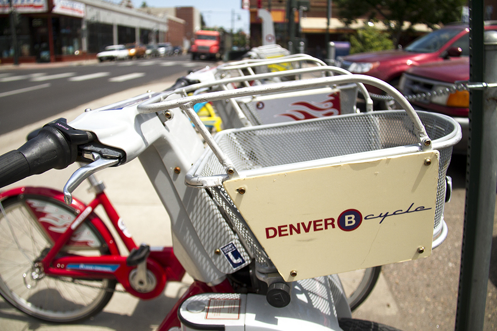 A B-Cycle station on 13th in Capitol Hill. (Kevin J. Beaty/Denverite)