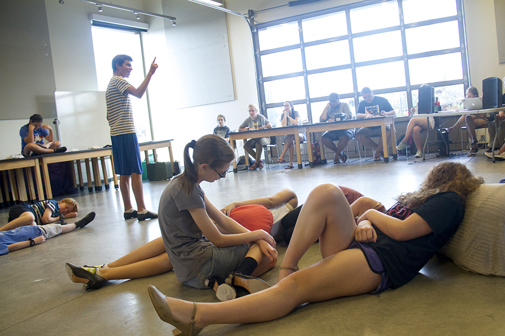 Kids rehearse Thoroughly Modern Millie Jr. at the Parker Arts, Culture and Events Center. (Kevin J. Beaty/Denverite)  denver; performance; performing arts; theater; kevinjbeaty; denverite; colorado; pace; parker;