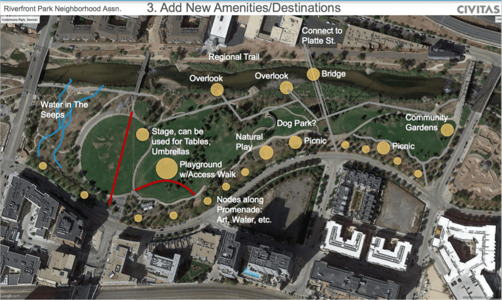 A privately funded draft of what Commons Park could look like one day. Any changes would have to be approved by a normal public process. (Obtained by records request from the city of Denver.)