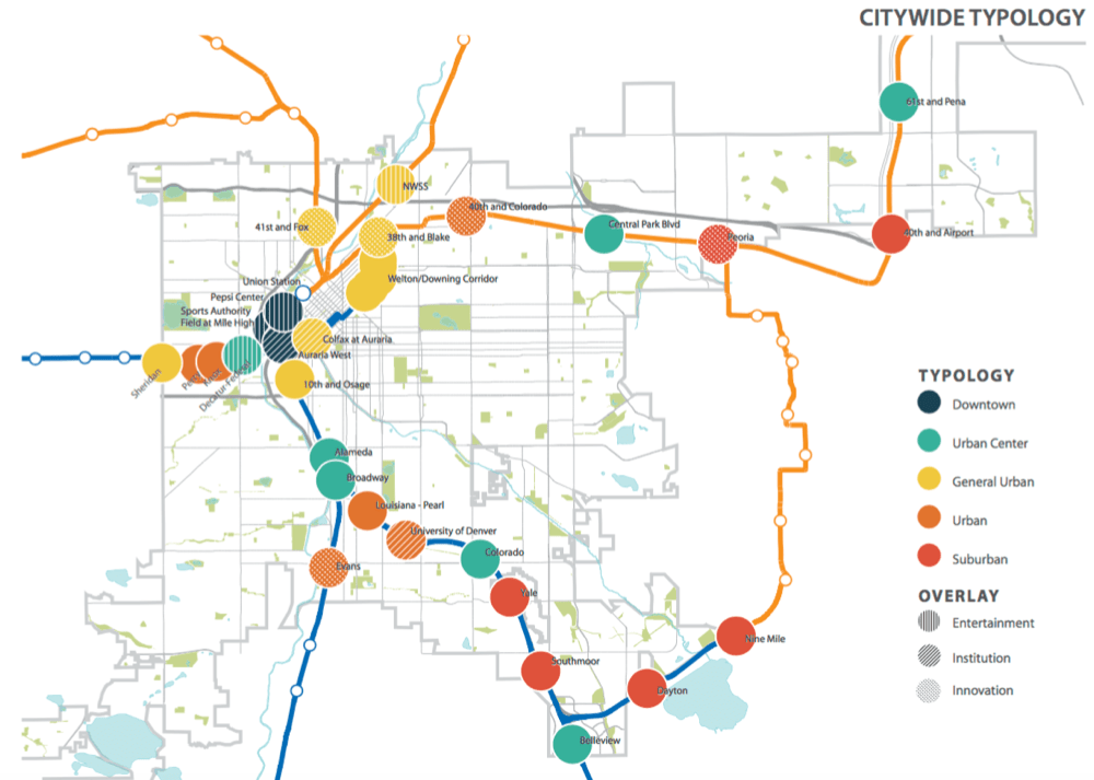 Map of the light rail system and stations targeted for transit-oriented development. You can read the city's whole strategy here. (City of Denver)