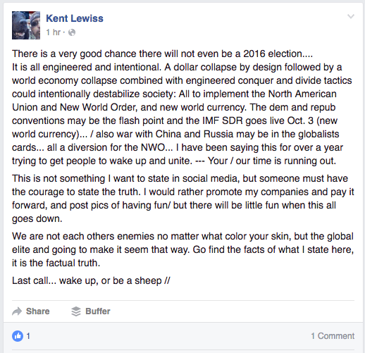 A screenshot of a Facebook post from Kent Lewiss on July 8, 2016.