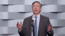Gov. John Hickenlooper addresses the Democratic National Convention July 28, 2016.