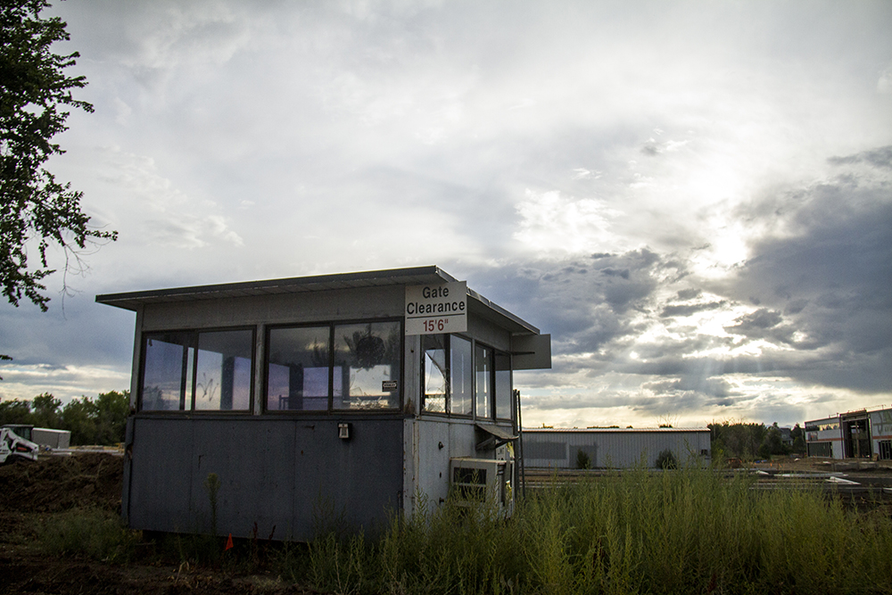 The original guard booth at the former Stanley Aviation building that will become a drive-thru coffee hut.  Stanley Marketplace.(Kevin J. Beaty/Denverite)  stanley marketplace; aurora; development; food; construction; kevinjbeaty; denver; colorado; denverite;