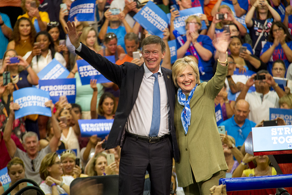 John Hickenlooper and Hillary Clinton at a rally in Commerce City. August 3, 2016. (Kevin J. Beaty/Denverite)john hickenlooper; hillary clinton; politics; election; vote; kevinjbeaty; denver; denverite; commerce city; colorado;
