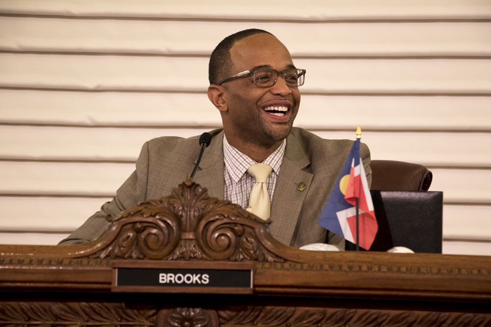 Council President Albus Brooks returned Monday for the first time after cancer treatment. (Chloe Aiello/Denverite)