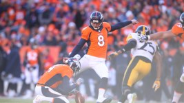Denver Broncos placekicker Brandon McManus (8) kicks a field goal during first quarter action against the Pittsburgh Steelers during the AFC Divisional Playoff NFL game at Sports Authority Field at Mile High in Denver, CO, January 17, 2016. Photo by Gabriel Christus