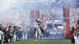 Denver BroncosAnn Judge-Wegener and Thunder during pregame festivities before kickoff  against the Carolina Panthers in Super Bowl 50 at Santa Clara, Calif.  February 7, 2016 (Photo by Eric Lars Bakke/ Denver Broncos)