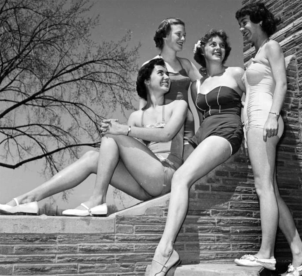 Young women models pose in swimming suits at the Lakewood Pool, in Lakewood (Jefferson County), Colorado. Between 1950 and 1960 (Lloyd Rule/Denver Public Library/Western History Collection/Z-10291)  summer; pool; historic; denver public library; dpl; archive; archival; denverite